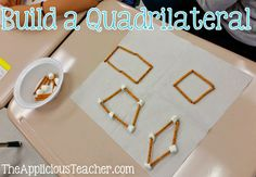 Build a quadrilateral- love this hands on activity for teaching the different types of quadrilaterals! Geometry Lessons, Teaching Geometry, Math Lessons, Teaching Math, Math Resources, Math Activities, Third Grade Math, Sixth Grade, Grade 3