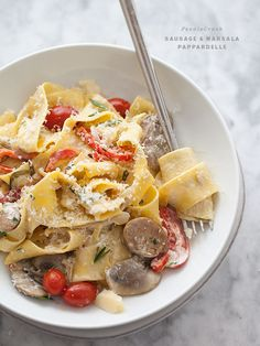 Sausage and Marsala Pappardelle Pasta is my favorite pasta sauce ever #recipe