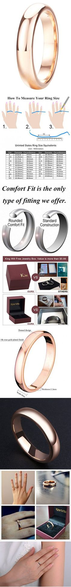 King Will 4mm Rose Gold Plated Polish Comfort Fit Domed Tungsten Carbide Ring Wedding Band(7)