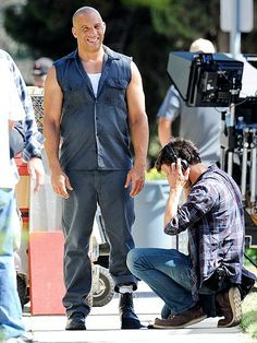 Vin Diesel gets back into character on set of Fast & Furious 7 in Los Angeles. http://www.people.com/people/gallery/0,,20822203,00.html#30166426