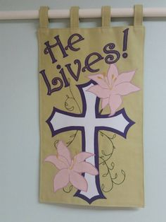 Church Wall Banner Easter Wall Art Wall Hanging by WeMadeItSew