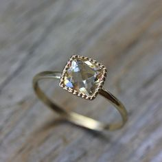Size 5 3/4 Ready To Ship, 14k Yellow Gold and Orthoclase Ring, Made to Order Solitaire ring, Vintage Inspired Right Hand RIng (etsy shop onegarnetgirl)