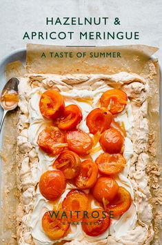 Crisp and chewy hazelnut meringue topped with fresh whipped cream and roasted apricots in a sweet ginger syrup. Sprinkle with flaked almonds and serve al-fresco at summer dinner parties. Tap for the full Waitrose & Partners recipe. Apricot Recipes, Sweet Recipes, Hazelnut Meringue, Meringue Food, Waitrose Food, Delicious Desserts, Dessert Recipes, Vegetarian Recipes, Cooking Recipes