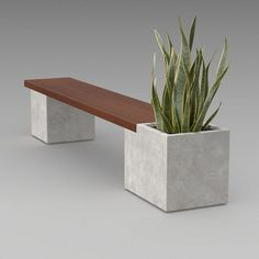 20 Fascinating Modern Garden Planter Bench Designs For Relaxing - Smart Home and Camper Concrete Garden Bench, Wooden Garden Planters, Concrete Furniture, Modern Planters, Concrete Planters, Cinder Block Garden, Planter Bench, Concrete Crafts, Modern Bench