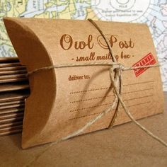 DIY inspiration: owl post gifboxes (sold on Etsy for $4.25). We could make these cardboard things...