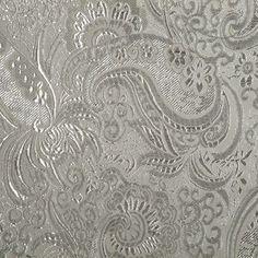 Let's Pretend TM Special Occasion Fabrics- Paisley Brocade Silver White