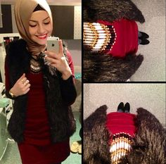 Red/Maroon and beige are great colors that complement each other! #hijab