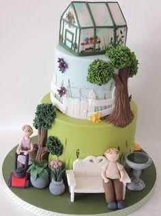 Garden Cake by Shareen's Cakes & Bakes Gardening Theme Cake Ideas Fancy Cakes, Cute Cakes, Big Cakes, Fondant Cakes, Cupcake Cakes, Allotment Cake, Ballet Cakes, Amazing Wedding Cakes, Amazing Cakes
