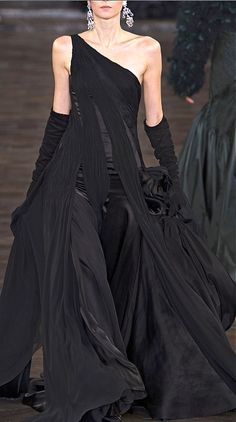 Ralph Lauren stunning black evening gown with black gloves #black formal evening dress