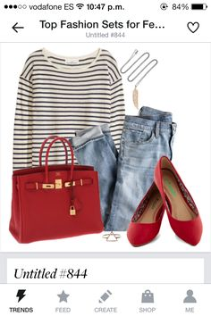Have I mentioned I love red?and stripes?and denim? Source by shoes outfit Red Purse Outfit, Red Flats Outfit, Blue Flats, Outfit Jeans, Casual Outfits, Cute Outfits, Fashion Outfits, Fashion Women, Women's Fashion