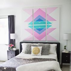 Looking for the perfect wall art to put above your bed? Follow this tutorial to create geometric art headboard panels!