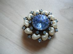 Vintage brooch in blue and white