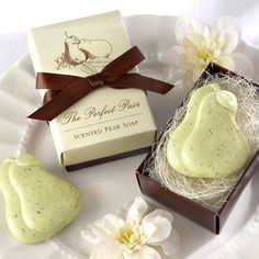 """These """"Perfect Pair"""" pear soap favors will show just how perfect you are for each other. Comes beautifully packaged in an elegant gift box. Perfect as wedding favors, bridal shower favors or even anniverstary party favors."""