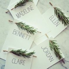 A Little Rosemary to decorate the Christmas table? Perfect place cards http://thestir.cafemom.com/home_garden/163722/10_holiday_place_cards_thatll/111248/a_little_rosemary?slideid=111248?utm_medium=sm&utm_source=pinterest&utm_content=thestir