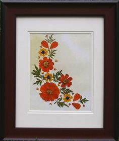 Original Pressed Flower Art    Orange fantasy by SmileWithFlower, $85.00
