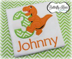 Personalized Dinosaur Birthday Shirt by ButterflyKissesEtsy Fourth Birthday, Dinosaur Birthday Party, Birthday Ideas, Birthday Parties, Sprinkle Shower, Birthday Shirts, First Birthdays, Christmas Cards, Gabriel
