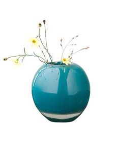 Sphere Bud Vase: Put greens and flowers straight from the garden into this spherical hand-blown colorful sphere.
