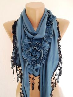 Navy blue Jersey Rose Shawl/ Scarf  Headband Cowl by TrendyTextile,