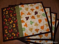 Oak Leaf Quilted Placemats Set of 4. $48.00, via Etsy.
