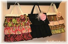 Canvas ruffle totes I want to try this.  thanks to the ribbon retreat for the tutorial