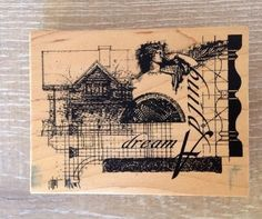 Club Scrap Rubber Stamp 2002 Limited Edition Build a Dream Romantic Wood Mount #ClubScrap