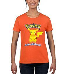 Pokemon Go Pikachu Women's Fashion T-Shirt (Medium, Orange)