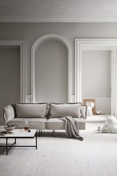 minimalism home Sand coloured velvet modular sofa in a pale and minimal Scandinavian living space, designed by Handvärk Home Interior, Modern Interior, Interior Styling, Interior Decorating, Decorating Tips, Nordic Interior, Classic Interior, Decorating Small Spaces, Interior Lighting
