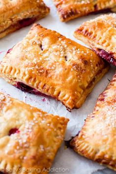 What's not to love about these simple cherry pastry pies? They use frozen puff pastry and fresh or f. Puff Pastry Recipes, Pie Recipes, Whole Food Recipes, Dessert Recipes, Cooking Recipes, Savory Pastry, Nutella Recipes, Pastry Chef, Pastries