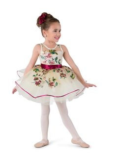 Lined leotard with attached tutu: floral embroidered mesh, ivory spandex, and ivory stiff tricot. Trim: burgundy sequin and burgundy ribbon. Headpiece included #dancecostumes #firstrecital #costumegallery #dancecompetition #ballerina #babyballerina #tutu #tots Ballet Costumes, Dance Costumes, Baby Ballerina, Jazz Shoes, Dance Tights, Tiny Dancer, Dance Outfits, Dance Wear, Leotards