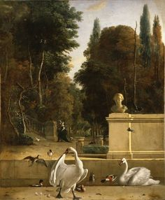 Birds in a garden, by Melchior de Hondecoeter...