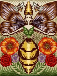 Bee Goddess, Q. Cassetti, Trumansburg, New York, 2010, Mixed Media.