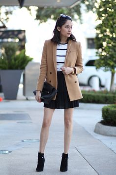 Street Chic Look | Camel Blazer | Mini Skirt | Stripped Tee