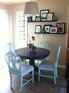 Repainted dining table and chairs.