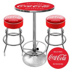 Ultimate Coca-Cola Pub Table w/ Backless Barstool Set