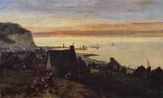 Johan Barthold Jongkind ~ De haven van Étretat ~ 1852 ~ Olieverf op doek ~ 103 x 68 cm. ~ Kröller-Müller Museum, Otterlo