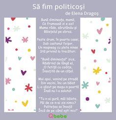 sa fim politicosi Kids Poems, Kids Education, Montessori, School, Bebe
