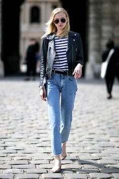 A Super Easy Way To Wear A Leather Moto Jacket For Fall