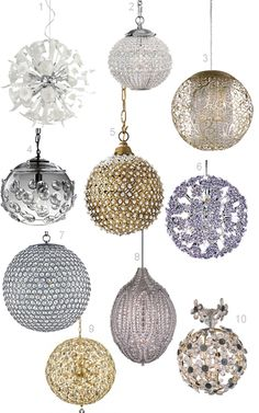 Crystal ball chandeliers!