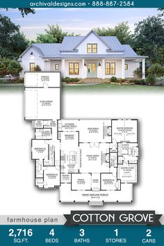 The Cotton Grove farmhouse plan boasts a spacious open layout ideal for entertaining family and friends. This home features 4 bedrooms, 3 bathrooms and an optional bonus room. House Plans One Story, Family House Plans, New House Plans, Dream House Plans, Small House Plans, House Floor Plans, Family Houses, One Story Homes, Country Style House Plans