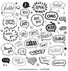 Hand drawn set of speech bubbles with dialog words: Hello, Love, Bye, Hi. Vector illustration.