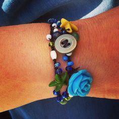 Pulsera de ganchillo con perlitas y estrellas marinas, made Byaly
