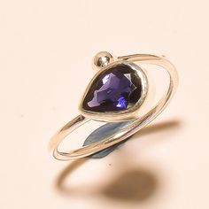92.5% SOLID STERLING SILVER AWESOME AFRICAN AMETHYST NATURAL RING (Adjustable) #Handmade