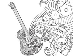 Blank Book Journal: Guitar Zentangle Cover Diary Notebook: x 11 size 120 gray lined pages! Color The Cover! Coloring Book Art, Doodle Coloring, Printable Coloring Pages, Coloring Pages For Kids, Line Art Design, Dibujos Zentangle Art, Pop Up Card, Doodle Lettering, Doodle Designs