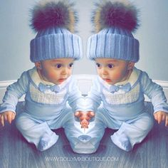 Boys in Blue 💙💙💙 How Cute does Finley look in our Baby Blue Luxury Fur Pom Pom Hat?  All colours restocked. Shop online >>> www.dollymixboutique.com