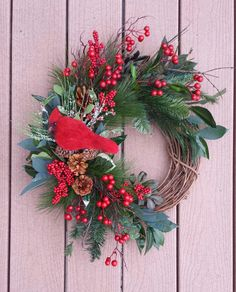 Red Cardinal Christmas wreath bird and berry holiday wreath rustic cabin decor cottage chic wreath country cottage wreath red Christmas by Frontdoorsinbloom on Etsy https://www.etsy.com/listing/454111478/red-cardinal-christmas-wreath-bird-and