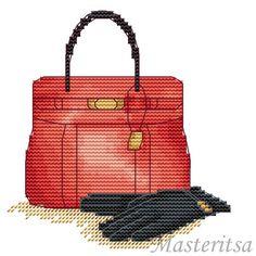 point de croix sac rouge et gants noirs - cross stitch red bag and black gloves