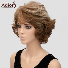 Fluffy Curly Brown Mixed Elegant Short Side Bang Synthetic Adiors Wig For Women - COLORMIX