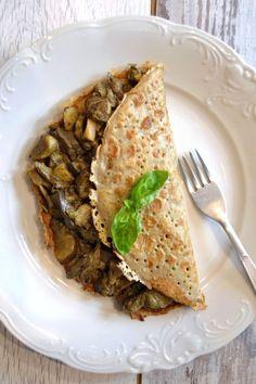 naleśniki gryczane z grzybami Sugar Free Sweets, Risotto, Pancakes, Tacos, Mexican, Bread, Cooking, Ethnic Recipes, Food