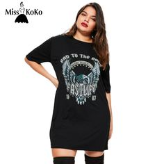 MissKoKo 2017 Big Size New Fashion Women Clothing Casual Solid Rock Print Summer Dress Plus Size Shirt Dress 4XL 5XL 6XL #Affiliate