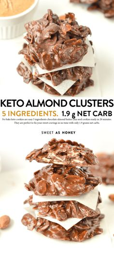 BAKE KETO COOKIES cup almond butter 1 tablespoon extra virgin coconut oil cup sugar free dark chocolate oz, 85 g) 1 cup sliced almonds 1 tablespoon chia seeds aka. keto almond clusters with g net carb per serve Keto Cookies, Healthy Cookies, No Bake Cookies, Low Carb Sweets, Low Carb Desserts, Low Carb Recipes, Dessert Recipes, Ketogenic Recipes, Vegan Recipes